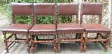 Set of Four Leather & Oak Cromwellian Style Dining Chairs